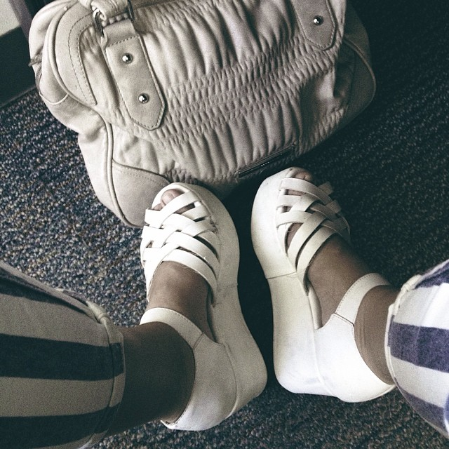 white sandals - casual work wear