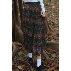 Vintage Elastic Waist High-Waisted Zig Zag Women's Skirt