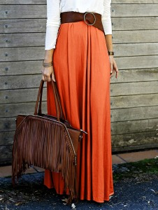 Solid Color High Waisted Long Skirt